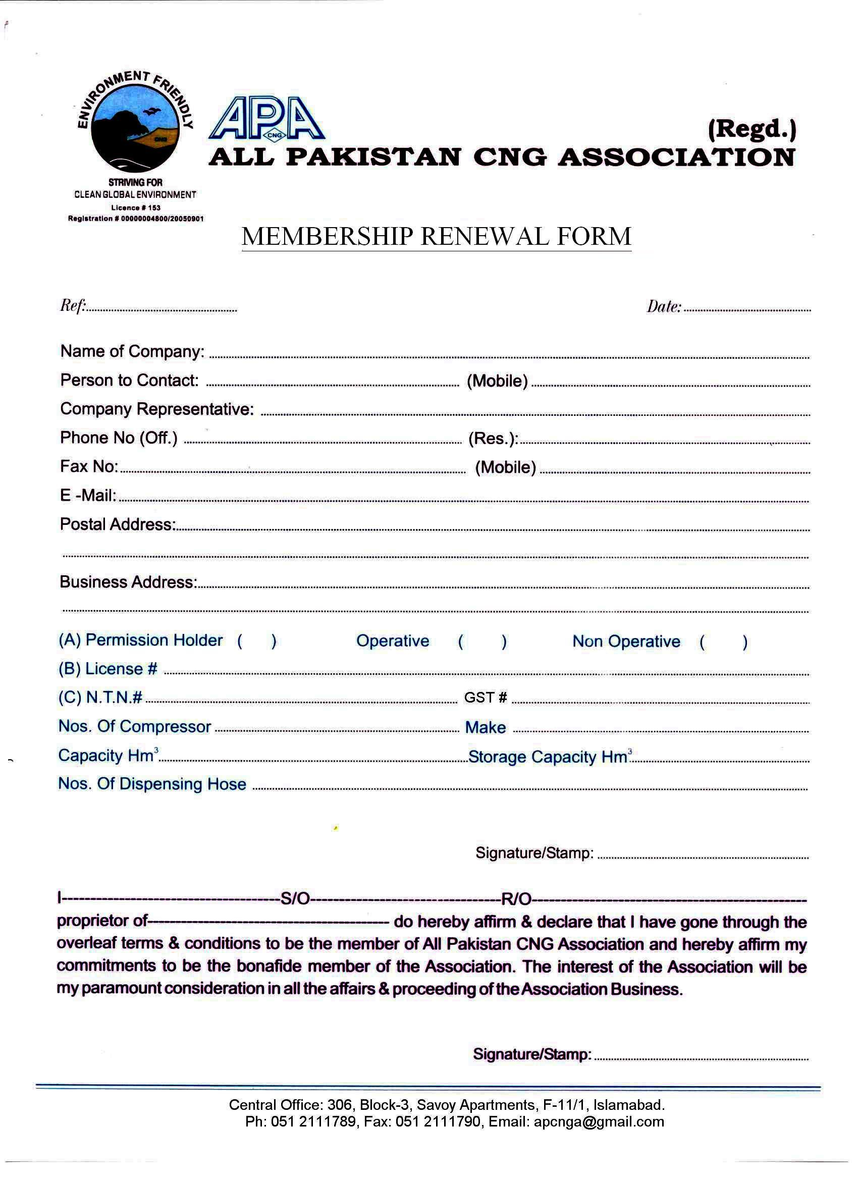 Membership Renewal Procedure 2016 | All Pakistan CNG Association